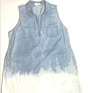Chambray Sleeveless Ombré Shift Dress Sz XL